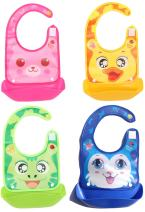 Reizbaby Adjustable Feeding Bibs with Food Catcher Pocket for Baby Toddlers Foldable Waterproof Bibs & Drool Bibs Easily Wipe Clean Portable for Outdoor Travel