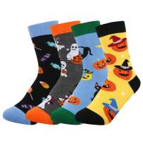 HAPPYPOP 4Pack Boys Girls Novelty Funny Crew Socks Wacky Cartoon Animal for Kids