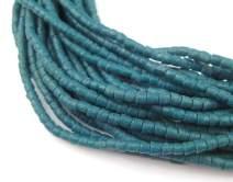 "Ghana Sandcast Beads - Full Strand of African Powder Glass Beads - The Bead Chest (3mm, Teal) - Single 26"" Strand"