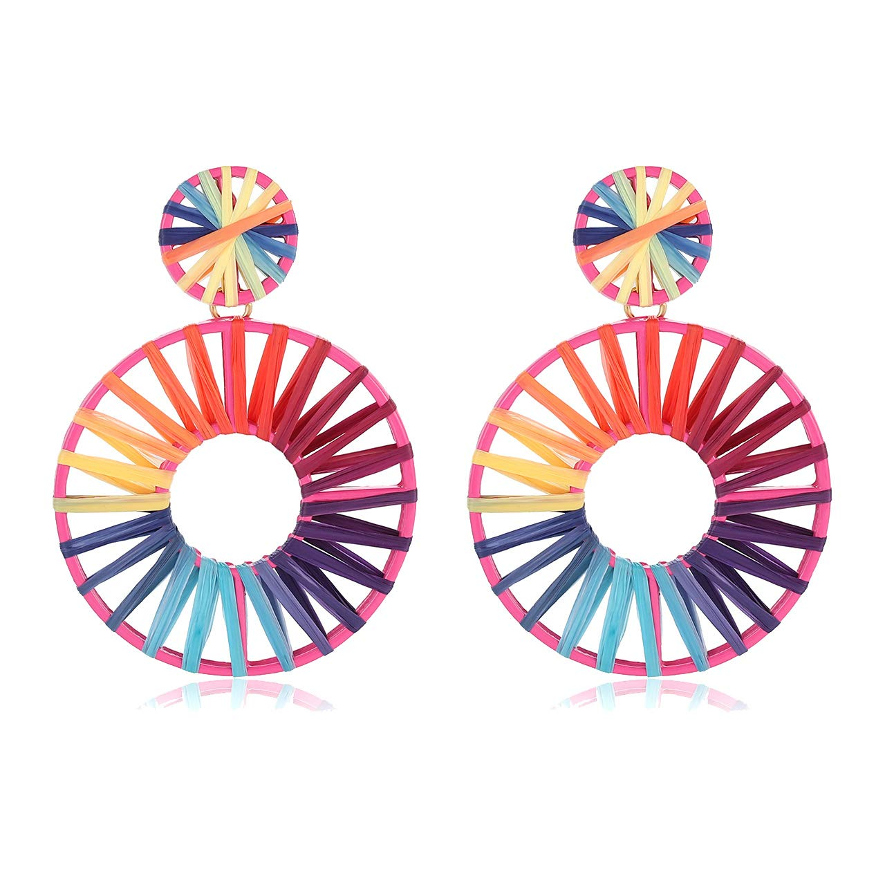 CEALXHENY Raffia Drop Earrings Weave Straw Raffia Hoop Earrings Lightweight Statement Rainbow Dangle Earring for Women Girls