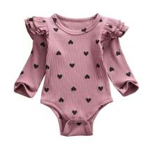 Newborn Infant Kids Clothing Baby Girls Cute Heart Ruffle Long Sleeve Romper Jumpsuit Bodysuit Top Outfits Clothes