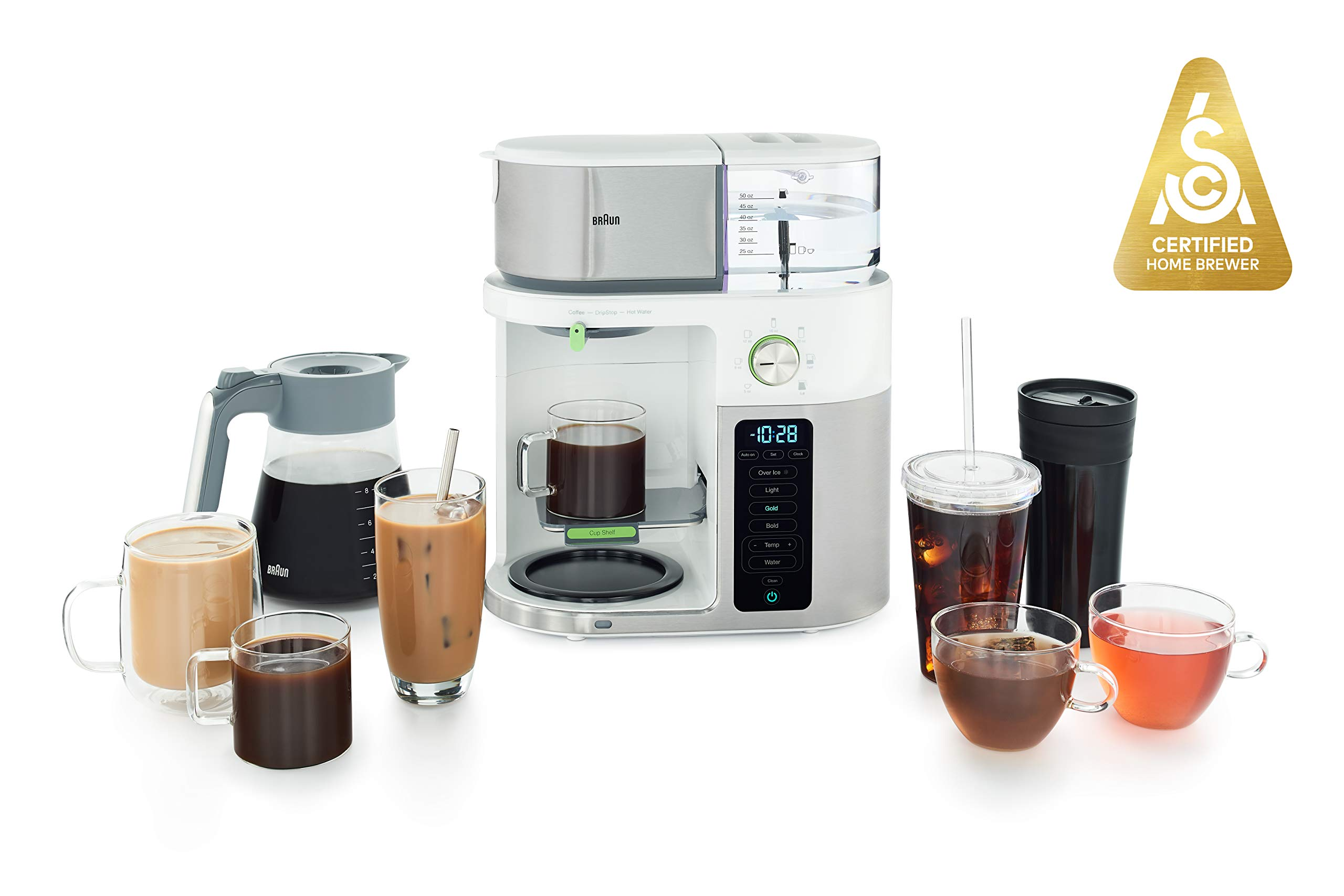 Braun MultiServe Coffee Machine 7 Programmable Brew Sizes / 3 Strengths + Iced Coffee & Hot Water for Tea, Glass Carafe (10-Cup), White, KF9150WH