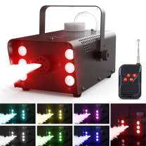 Theefun 400W Fog Machine with Lights - 6 LED Lights with 7 Colors & Strobe Effect for Party Wedding Holiday, Portable Wireless Remote Control Smoke Machine