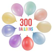 Prextex 300 Pastel Party Balloons 12 Inch 10 Assorted Rainbow Candy Colors - Bulk Pack of Strong Latex Macaron Balloons for Party Decorations, Birthday Parties Supplies or Arch Decor - Helium Quality