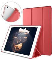 DTTO iPad 9.7 Case 2018 iPad 6th Generation Case / 2017 iPad 5th Generation Case, Slim Fit Lightweight Smart Cover with Soft TPU Back Case for iPad 9.7 2018/2017 [Auto Sleep/Wake] - Bright Red