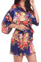 DF-deals Women's Robes Kimono Satin Floral Robes for Bride Bridesmaid Wedding Party Gift Silk Robes Nursing Gown