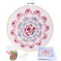 Full Range of Embroidery Starter Kit with Pattern, Kissbuty Cross Stitch Kit Including Embroidery Cloth with Floral Pattern, Bamboo Embroidery Hoop, Color Threads and Tools Kit (Pink Mandala)