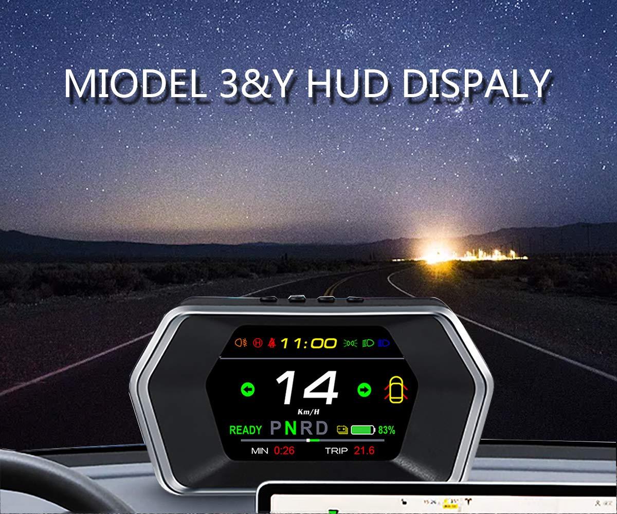 Topfit for Tesla Model 3 Model Y Heads Up Display(HUD) Smart Digital Meter Speedometer GPS Mini Fit Tesla Dashboard HD Screen