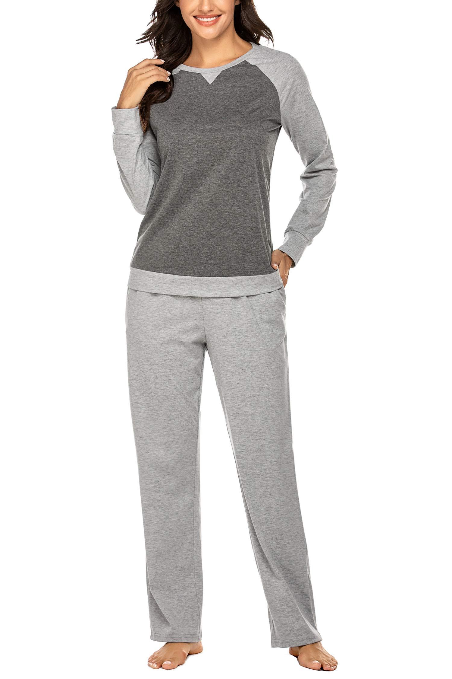 Ekouaer Women's Pajama Set Long Sleeve Pajama Soft Sleepwear Tops and Pants Pj Set