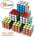 Full Size 3×3×3 Cube Set,Puzzle Party Toy, Eco-Friendly Material with Vivid Colors,Party Favor School Supplies Puzzle Game Set for Kids and Adults(10 Pack),2.2 Inch Each Side.