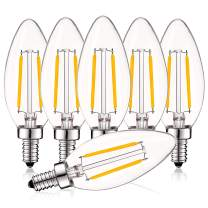 Luxrite 4W Vintage Candelabra LED Bulbs Dimmable, 400 Lumens, 2700K Warm White, LED Chandelier Light Bulbs 40W Equivalent, Clear Glass, Filament LED Candle Bulb, UL Listed, E12 Base (6 Pack)