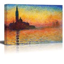 """wall26 - San Giorgio Maggiore at Dusk by Claude Monet - Canvas Print Wall Art Famous Oil Painting Reproduction - 16"""" x 24"""""""