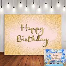 Fanghui 7x5ft Bokeh Gold Sweet Happy Birthday Photography Backdrops Girls Birthday Glitter Diamonds Shiny Photo Background Vinyl Valentine's Day New Year Party Banner Decoration Baby Shower