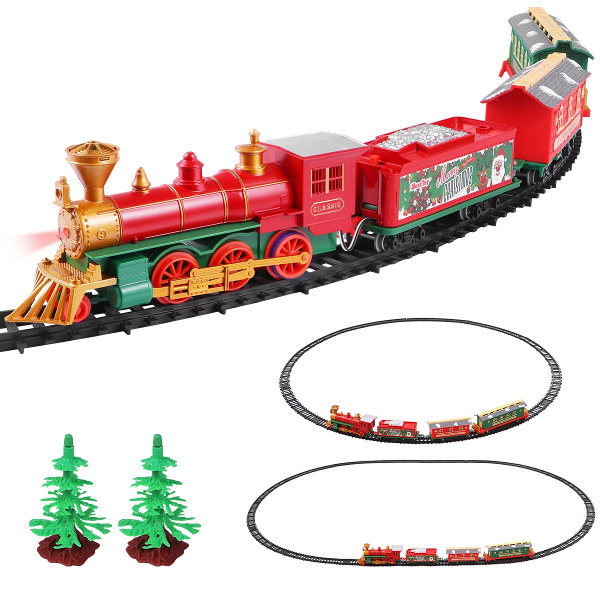 iBaseToy Christmas Train Set for Kids - Electric Battery Operated Toy Train for Christmas Tree with Lights and Sounds, Kids Train Toys Set with 4 Cars and 16 Tracks for 3 4 5 6 Year Old Boys Girls