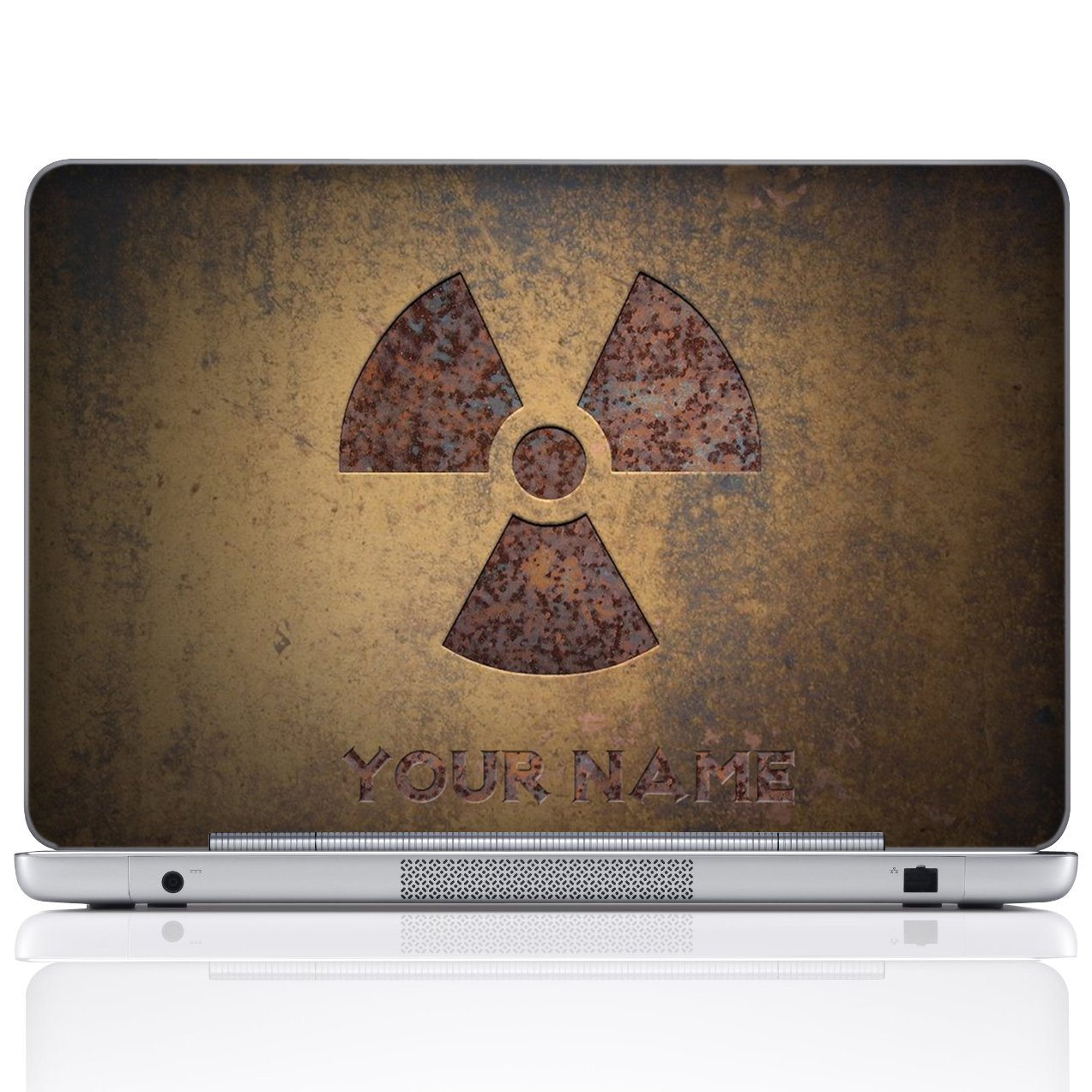 Meffort Inc Personalized Laptop Notebook Notebook Skin Sticker Cover Art Decal, Customize Your Name (17 Inch, Brown Radioactive)