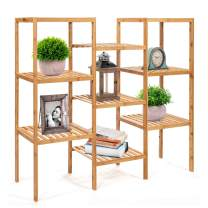 Barton Bamboo Plant Stand Shelf Flower Pots Holder Display Rack Utility Shelf Bathroom Rack 9-Tier Organizer Storage Rack Shelving, Natural