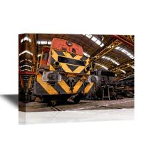 wall26 - Watercolor Style Canvas Wall Art - Freight Train Parking in a Garage - Gallery Wrap Modern Home Decor | Ready to Hang - 12x18 inches
