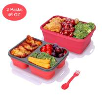 Yesurprise Collapsible Bento Box, 2 Pack Silicone Food Storage Container Bento Lunch Box with Lid for Adults Kids, BPA Free, Microwave, Dishwasher and Freezer Safe(Red)