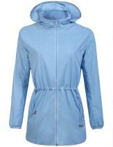 Zeagoo Women's Lightweight Raincoat Windbreaker Waterproof Hooded Running Rain Jacket