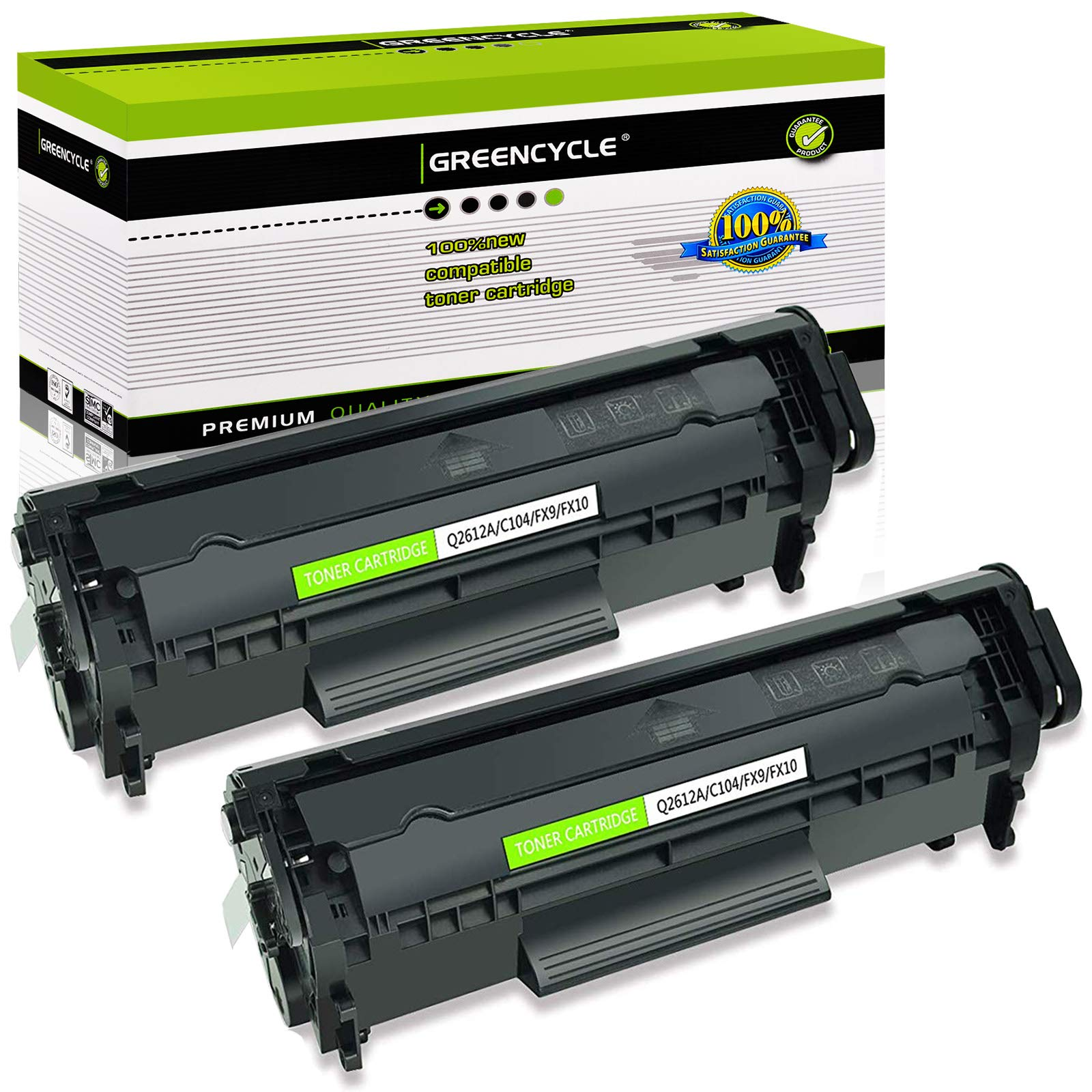 GREENCYCLE 2 Pack Compatible for Canon 104 FX-10 FX-9 104 Toner Cartridge for Faxphone Printer L90 L120 LBP-2900 LBP-3000