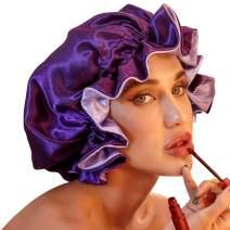 Satin Bonnet for Natural Hair Bonnets for Black Women Silk Bonnet for Curly Hair Cap for Sleeping Silk Hair Wrap for Sleeping(Purple)