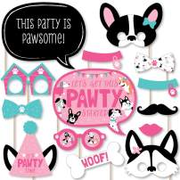 Big Dot of Happiness Pawty Like a Puppy Girl - Pink Dog Baby Shower or Birthday Party Photo Booth Props Kit - 20 Count