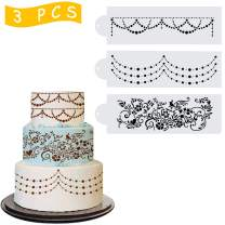 Wedding Cake Stencil Template, Kissbuty 3 Pcs Cake Decorating Embossing Plastic Spray Floral Cake Cookie Fondant Side Baking Mesh Stencil Mat Wedding Decor Tools (Floral Vine)