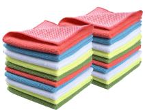 SINLAND 5 Color Assorted Microfiber Dish Cloth Best Kitchen Cloths Cleaning Cloths with Poly Scour Side 12Inchx12Inch 20 Pack (Pinkx4+bluex4+whitex4+yellowx4+greenx4)