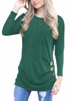 Dewapparel Women Short Sleeve Solid Color Loose Button Trim Blouse Round Neck Tunic Top T-Shirt