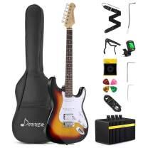 Donner DST-102S Solid Body 39 Inch Full Size Electric Guitar Kit Sunburst, Beginner Starter, with Amplifier, Bag, Capo, Strap, String, Tuner, Cable, Picks