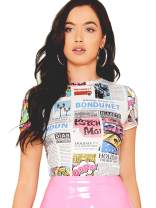 WDIRARA Women's Summer Newspaper Graphic Letter Print Slim Fit Casual Tee Top