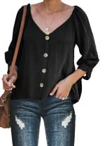 Actloe Women V Neck Front Button Down 3/4 Sleeve Tie Shirt Casual Blouses and Tops