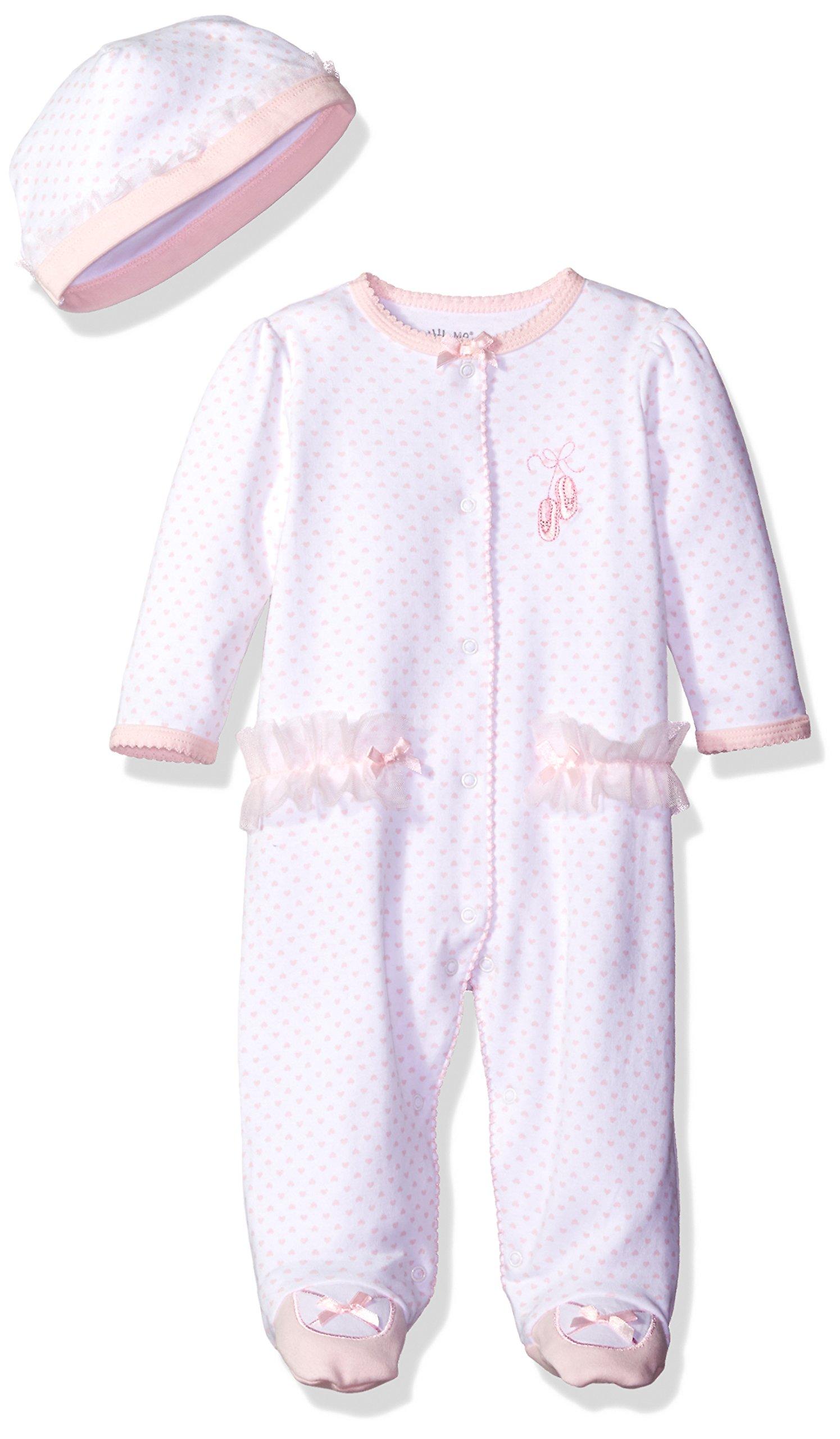 Little Me Baby-girls Newborn Prima Ballerina Footie and Hat, White/Pink, 9 Months