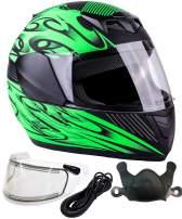 Typhoon Helmets Youth Kids Full Face DOT Snowmobile Helmet with Heated Shield Boys Girls - Matte Green (Medium)