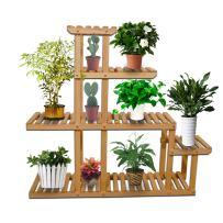 Yardeen 5-Tier Wooden Plant Display Stand Bonsai Multi Tier Flower Rack Storage Organizer Rack Shelving 10 Pot Holder for Garden Patio Corner Indoor&Outdoor Décor