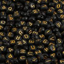 Yochus 1000pcs Black Round Acrylic Alphabet Beads 4x7mm Gold Letter A-Z Beads for Jewelry Making and DIY Bracelets, Necklaces, Key Chains