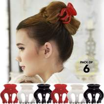 RC ROCHE ORNAMENT 6 Pcs Womens Pumpkin Hair Secure No Slip Grip Claw Clips Styling Plastic Strong Durable Comfortable Hold Premium Quality Beauty Accessory Girls, Large Red White and Black