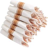 Set of 30packs, Rose Gold Silverware, Pre Rolled Napkin with Cutlery, Disposable Flatware with Linen Napkin, Heavy Weight, Elegant, Shiny and Stylish Cutlery Set, Supernal