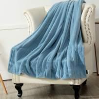 "Panku Super Warm Soft Throw Faux Fur Striped Blanket Rabbit Fur Throw Necessary to Keep Warm (50"" x 60"", Baby Blue)"