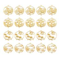 OLYCRAFT 20pcs Wind Chime Theme Open Bezel Charms 4-Style Alloy Frame Pendants Hollow Resin Frames with Loop for Resin Jewelry Making - Gold