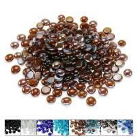Hisencn 1/2 Inch Amber Luster Fire Glass Beads for Fire Pit, Fireplace, Fire Bowls, Garden Landscaping Decorative Accessories, High Luster Tempered Glass Rocks, 10 Pounds