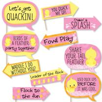 Funny Pink Ducky Duck - Baby Shower or Birthday Party Photo Booth Props Kit - 10 Piece