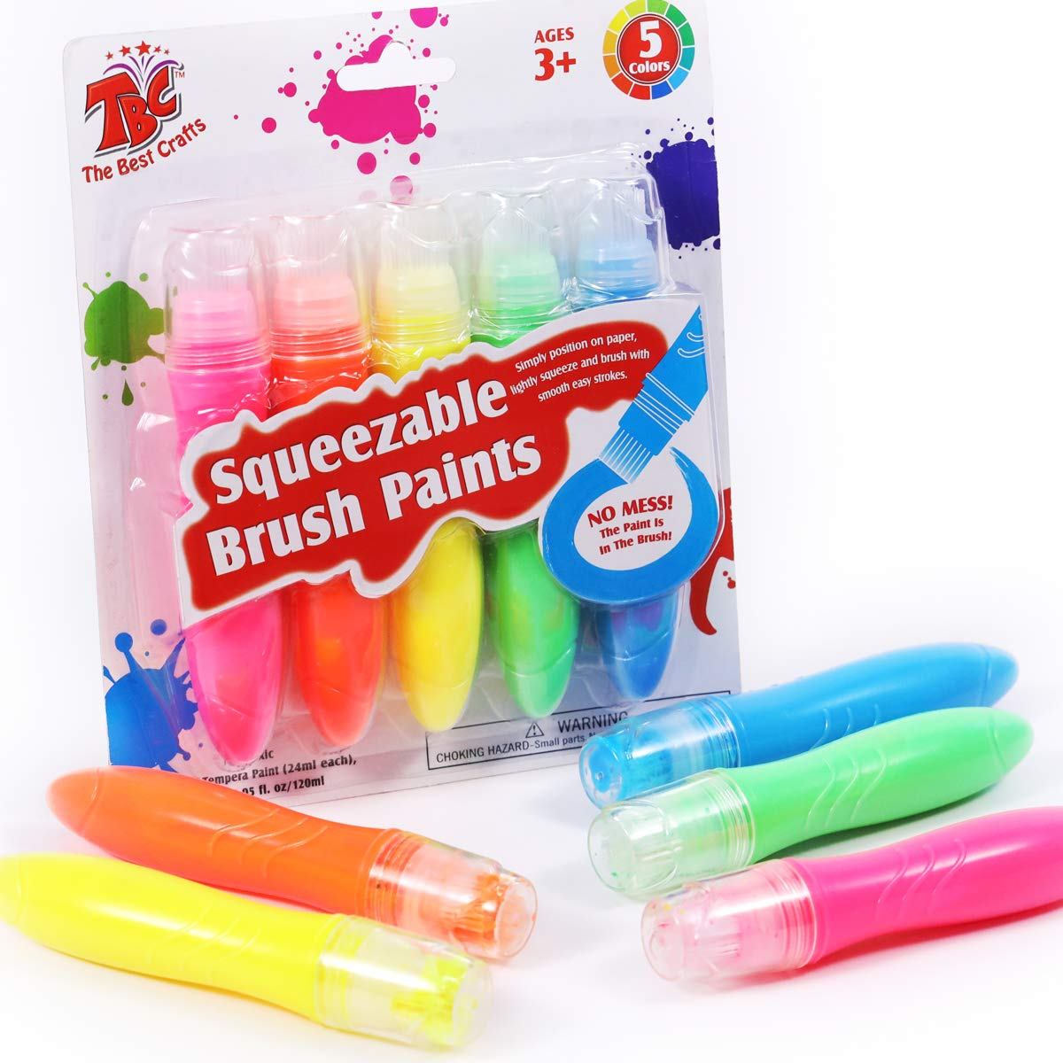 TBC The Best Crafts 5 Neon Colors Squeezable Brush Paints, Washable Tempera Paint Brushes, Toddlers Grip Strengthening Squeezable Tubes, Easy to Paint, Kids Early Learning Art Toy