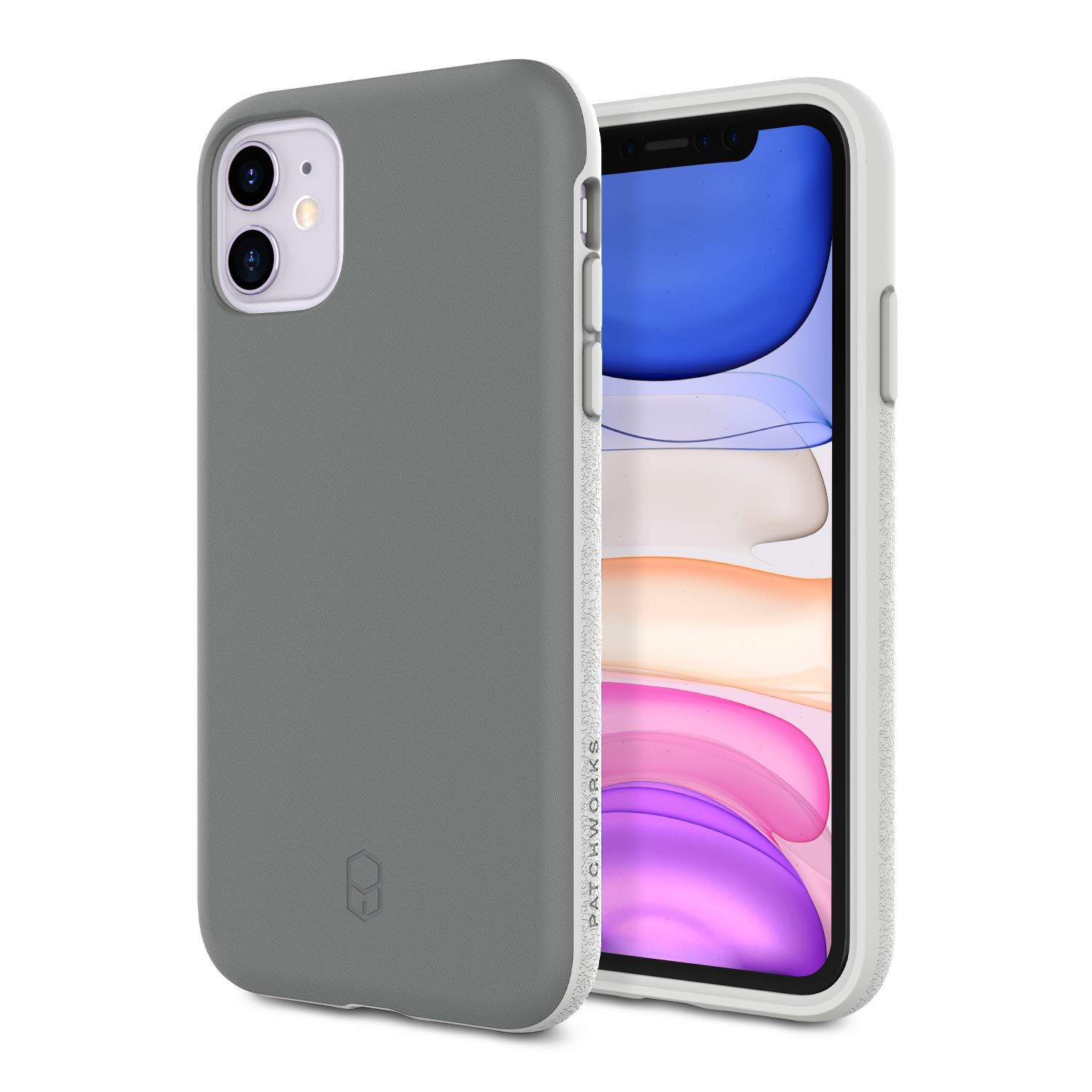 PATCHWORKS iPhone 11 Case [Level ITG Series] Thin Hybrid Shockproof Dual Layer TPU + PC Case [Military Grade Drop Test Certified] [Wireless Charging Compatible], Gray