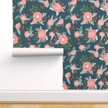 Spoonflower Peel and Stick Removable Wallpaper, Florals Pink Flowers Flower Floral Girls Baby Nursery Print, Self-Adhesive Wallpaper 12in x 24in Test Swatch