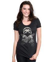 Headline Shirts - Funny Graphic Sloth Shirts - Screen Printed Crewneck T-Shirt for Women