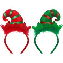 WILLBOND 2 Pieces Christmas Headband Elf Headband Multicolored Elf Hat Headband for Girls Women Christmas Party Favors
