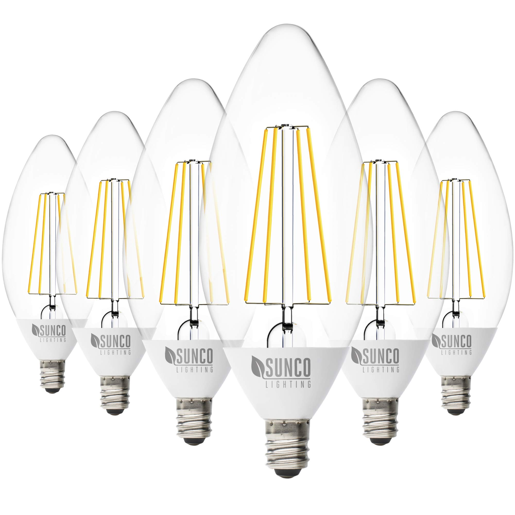Sunco Lighting 6 Pack B11 LED Candelabra Bulb, Dusk-to-Dawn, 5W=40W, 5000K Daylight, Filament, 500 LM, E12 Base, Outdoor Decorative Light for Sconces - UL
