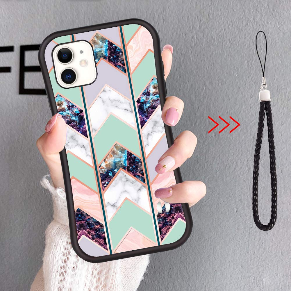 Surgoo Fashion iPhone 11 Case, Shiny Rose Gold Wave Geometric Marble Case Slim Soft TPU Rubber Bumper Silicone Protective hockproof Protective Cover for iPhone 11 6.1 inch (2019) [Green]