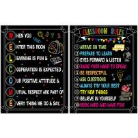 2 PCS Welcome Poster Classroom Rules Poster for Kindergarten Elementary Middle School High School Classroom Decorations Laminated Design 17 x 22 inches